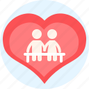bench, boy, girl, heart, love, lovers, things icon