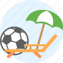 beach, chaise, deckchair, rest, soccer ball, things, umbrella icon