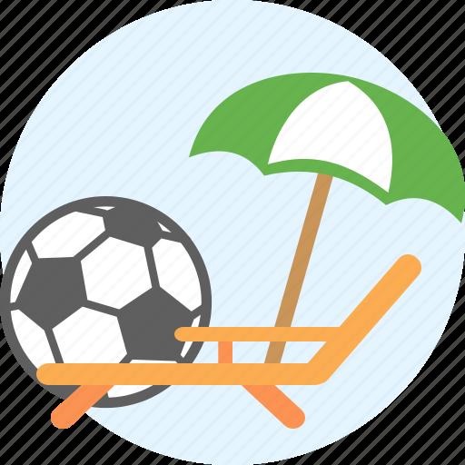 beach, chaise, deckchair, rest, soccer ball, things, umbrella icon