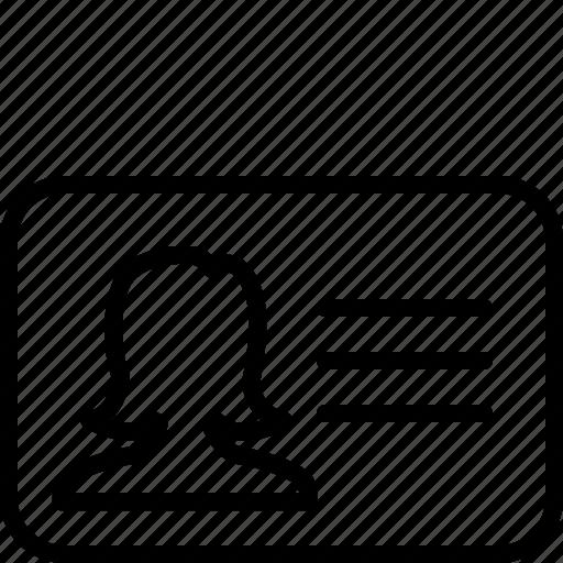 account, card, female, girl, person, profile, user icon
