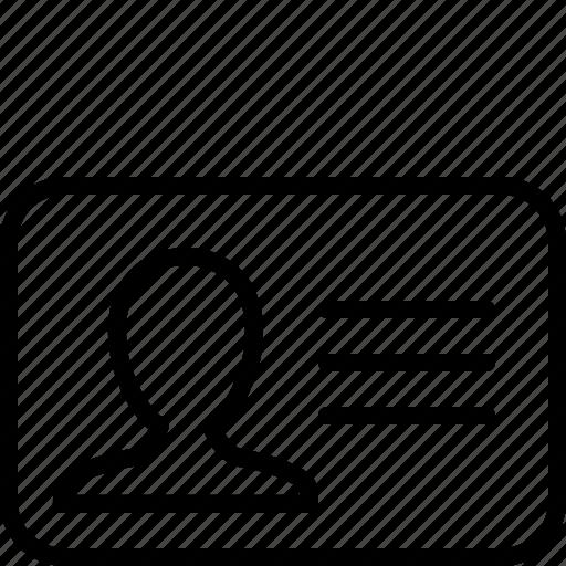 account, card, login, male, man, profile, user icon