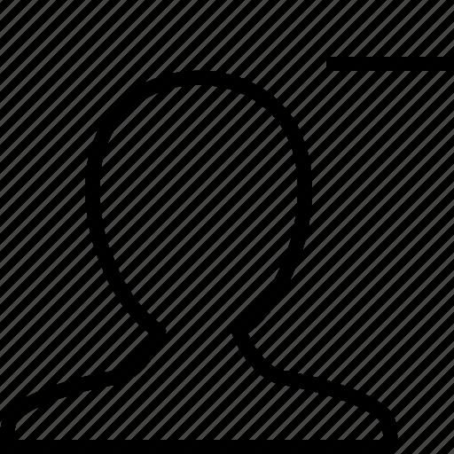 account, avatar, delete, man, profile, remove, user icon