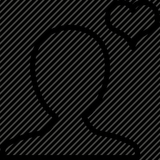 account, favorite, heart, like, man, profile, user icon