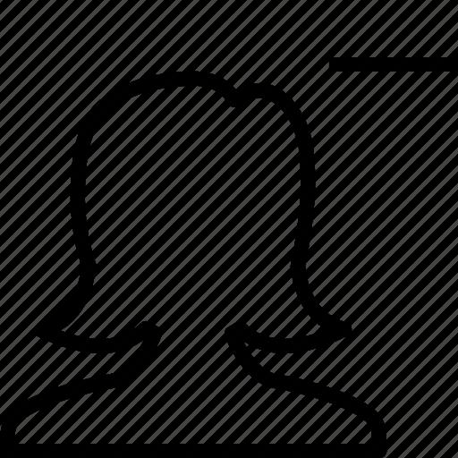 avatar, delete, female, girl, minus, user, woman icon