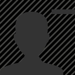 account, avatar, contact, delete, man, remove, user icon