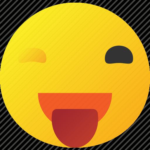 emoticon, happy, lough, wink icon icon