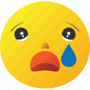 cry, crying, emoticon, sad icon