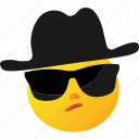 emoticon, hat, investigation, investigator icon