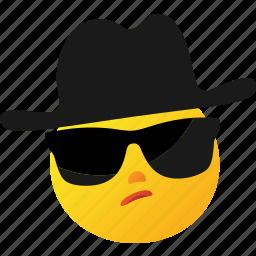 emoticon, hat, investigation, investigator icon
