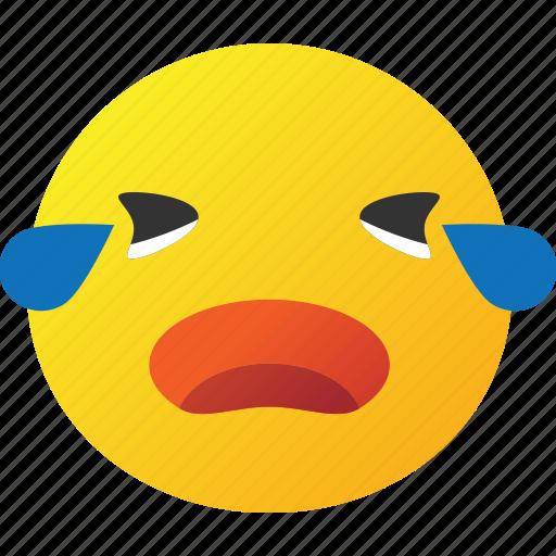cry, emoticon, yelling icon