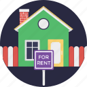 for rent, house for rent, landed property, property rental, tenant lease icon