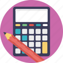 accounting, adding machine, calculator, financial, pencil icon