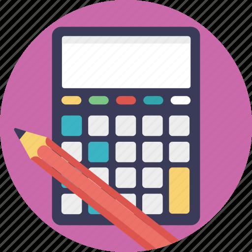 accounting, adding machine, calculator, financial, pencil icon