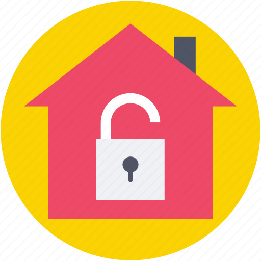 house insurance, house security, locked house, real estate, unlock icon