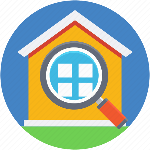 house search, magnifier, magnifying glass, property search, real estate icon