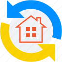 refresh home, construction, home renovation, rotating arrows, home construction