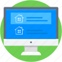 home, monitor, online property, online real estate, property website icon