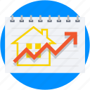 line graph, property graph, property price, property value, real estate icon