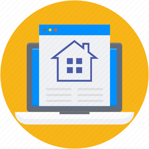 home, laptop, online property, online real estate, property website icon