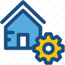 cog, construction, home repairing, housing business, real estate icon