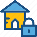 house insurance, house security, lock, locked house, real estate icon