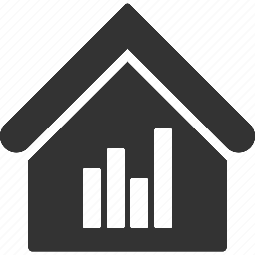 bar chart, building, house, real estate, realty, statistics, stats icon