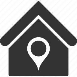building, home, house, location, pin, pointer, real estate icon