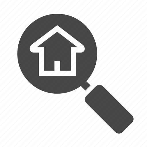 house, magnifying glass, quest, real estate, searching icon