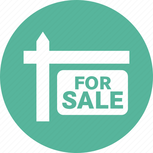 estate, for, home, house, real estate, sale, sign icon