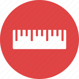 dimensions, inches, instrument, measurement, ruler, school icon