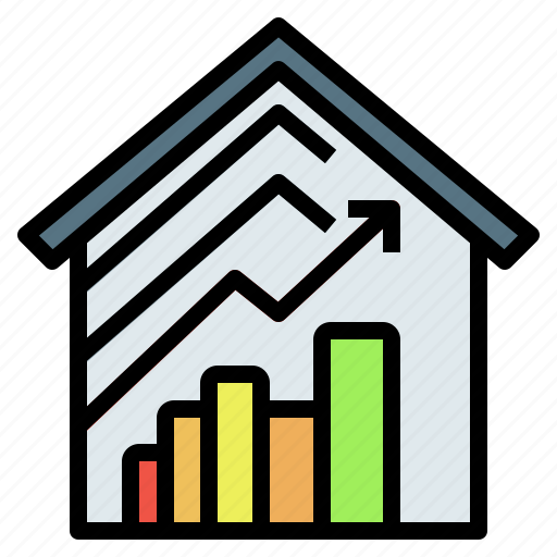 capitalgain, graph, house, investment, realestate icon