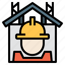 development, engineer, hardhat, house, realestate icon