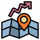 capitalgain, growth, growtharea, map, realestate icon