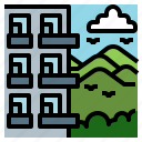 block, flats, highrise, mountain, realestate icon