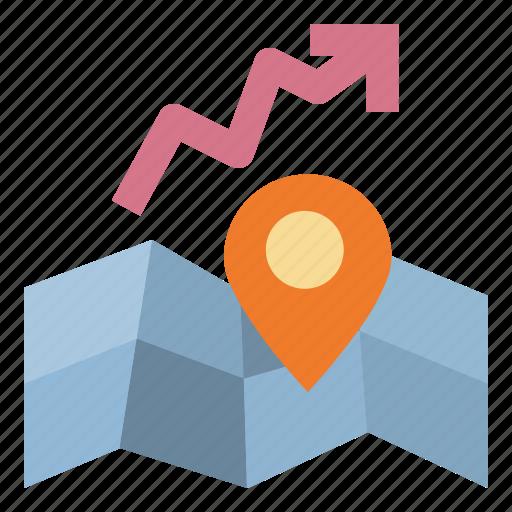 capitalgain, growth, growtharea, map, realestate icon