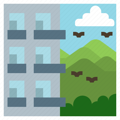 block, flats, highrise, mountain, realestate icon
