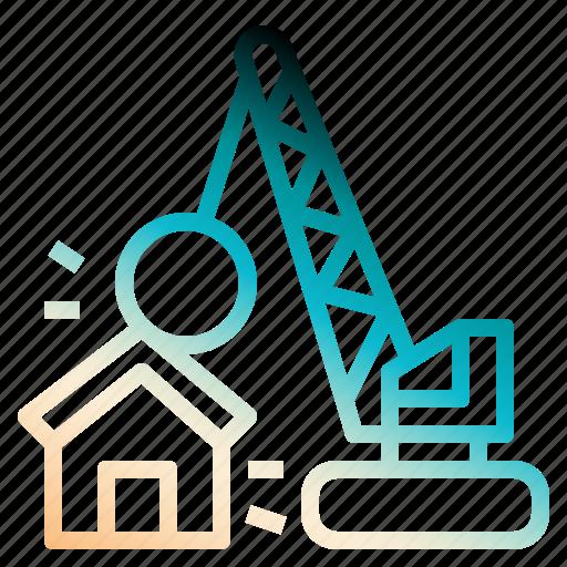 break, destroy, development, house, realestate icon