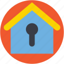 house insurance, house security, keyhole, locked house, real estate icon
