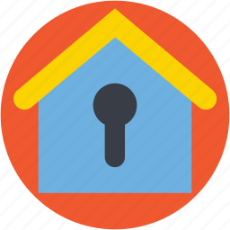 house insurance, house security, keyhole, locked house, real estate icon