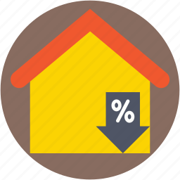 home, percentage sign, property tax, property value, real estate icon