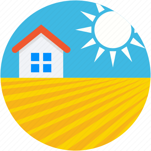 family house, home, house, rural house, sun icon
