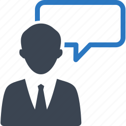 advice, businessman, chat, consultant, conversation, customer service, customer support, help, real estate, speech bubble, talk icon