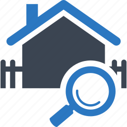 building, fence, find, find home, home, house, magnifier, magnifying glass, property, real estate, search, searching icon