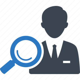 agent, broker, business, businessman, find, magnifier, magnifying glass, man, real estate, real estate agent, search, searching icon