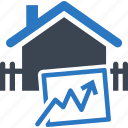 analysis, analytics, building, business, graph, growth, home, home values, house, line graph, progress, property value, real estate icon