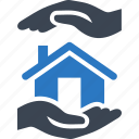 building, hands, home, house, insurance, property, protect, protection, real estate icon