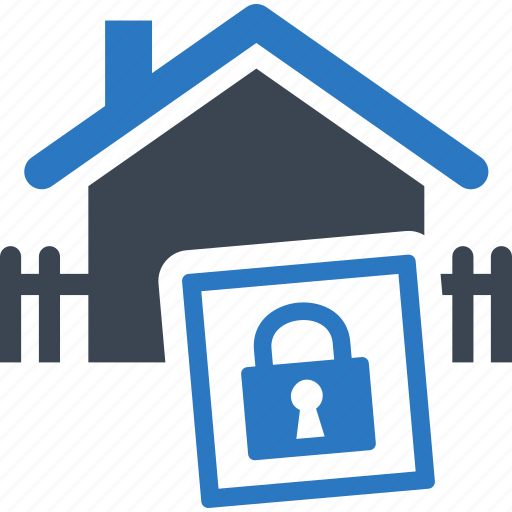 building, business, construction, fence, home, house, lock, mortgage, property, protection, real estate, safe, secure icon