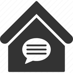 building, chat, communication, house, message, real estate, talk icon