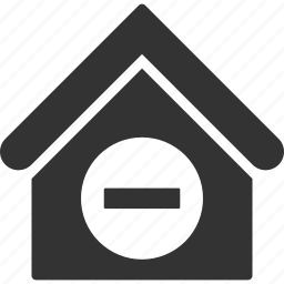 building, deduct, home, house, minus, real estate, substract icon