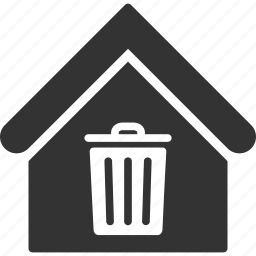 building, dust bin, garbage, home, house, real estate, trash can icon